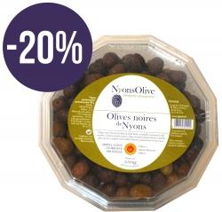 -20% DISCOUNT- Plastic Box Nyons Black Olive PDO 550g
