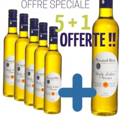 OFFRE SPÉCIALE 5 Bouteilles 50cl huile d'olive AOP Nyons + 1 OFFERTE