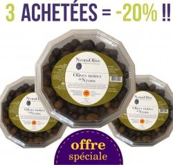 LOT de 3 Barquettes d'olives noires natures AOP NYONS de 1 Kg