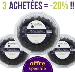 LOT de 3 Barquettes olives noires de Nyons aux herbes de Provence de 350 g