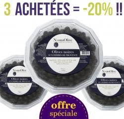 LOT de 3 Barquettes d'olives noires de Nyons aux herbes de Provence de 550 gr