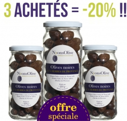 3 Glasses black olives with Provence herbs 210 g