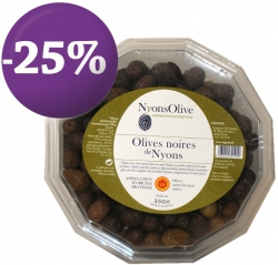 -25% DISCOUNT- Plastic Box Nyons Black Olive PDO 350g