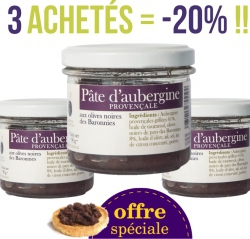 SPECIAL OFFER LOT 3 Provençal eggplant pasta with black olives from Baronnies 100 g -20%