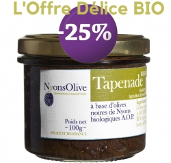 25% Tapenade of black olives Nyons AOP 90 g - Organic - PROMOTION