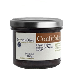 Glass jar 100 g - jam of black olives from Nyons PDO