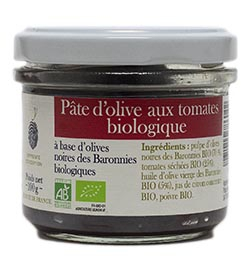 Pâte d'olives noires aux tomates séchées BIOLOGIQUE - 100 g
