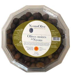 Plastic Box Nyons Black Olives PDO 550 G