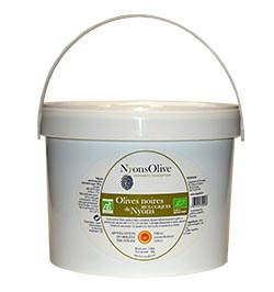 Bucket-2 Kg natural-black olives from Nyons PDO- Organic