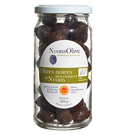 glassjar Black olives from NYONS AOP -Organic 210 gr