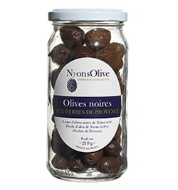 Bocal Olives noires de Nyons AOP aux herbes de Provence - 210 g