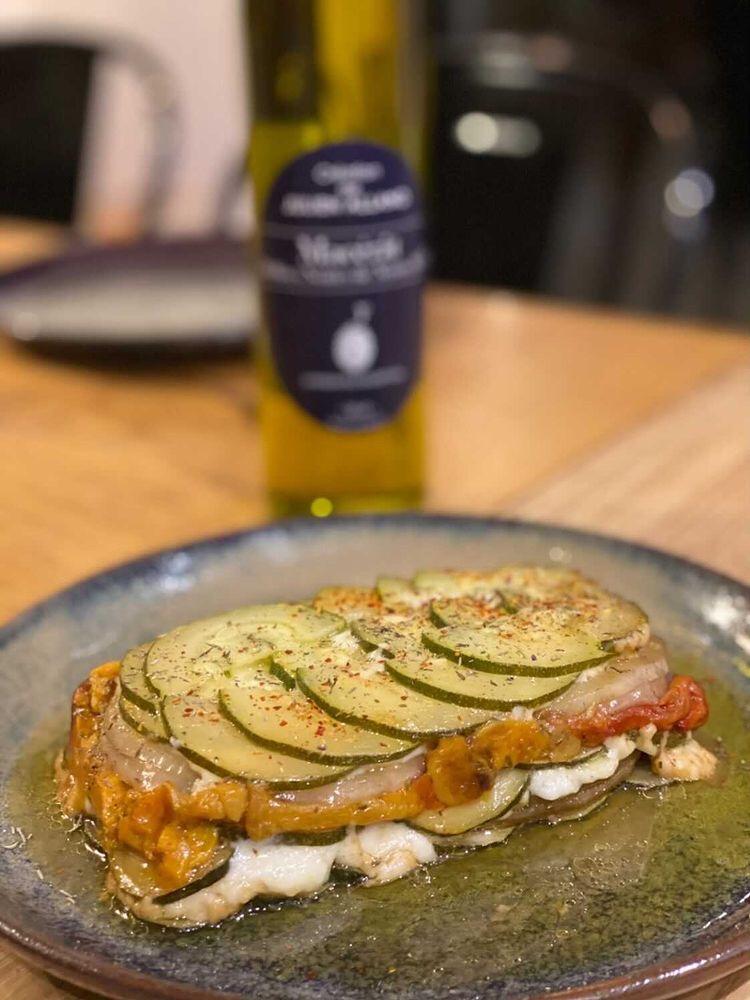 Tian légumes grillés au macérât d'olives noires de Nyons AOP