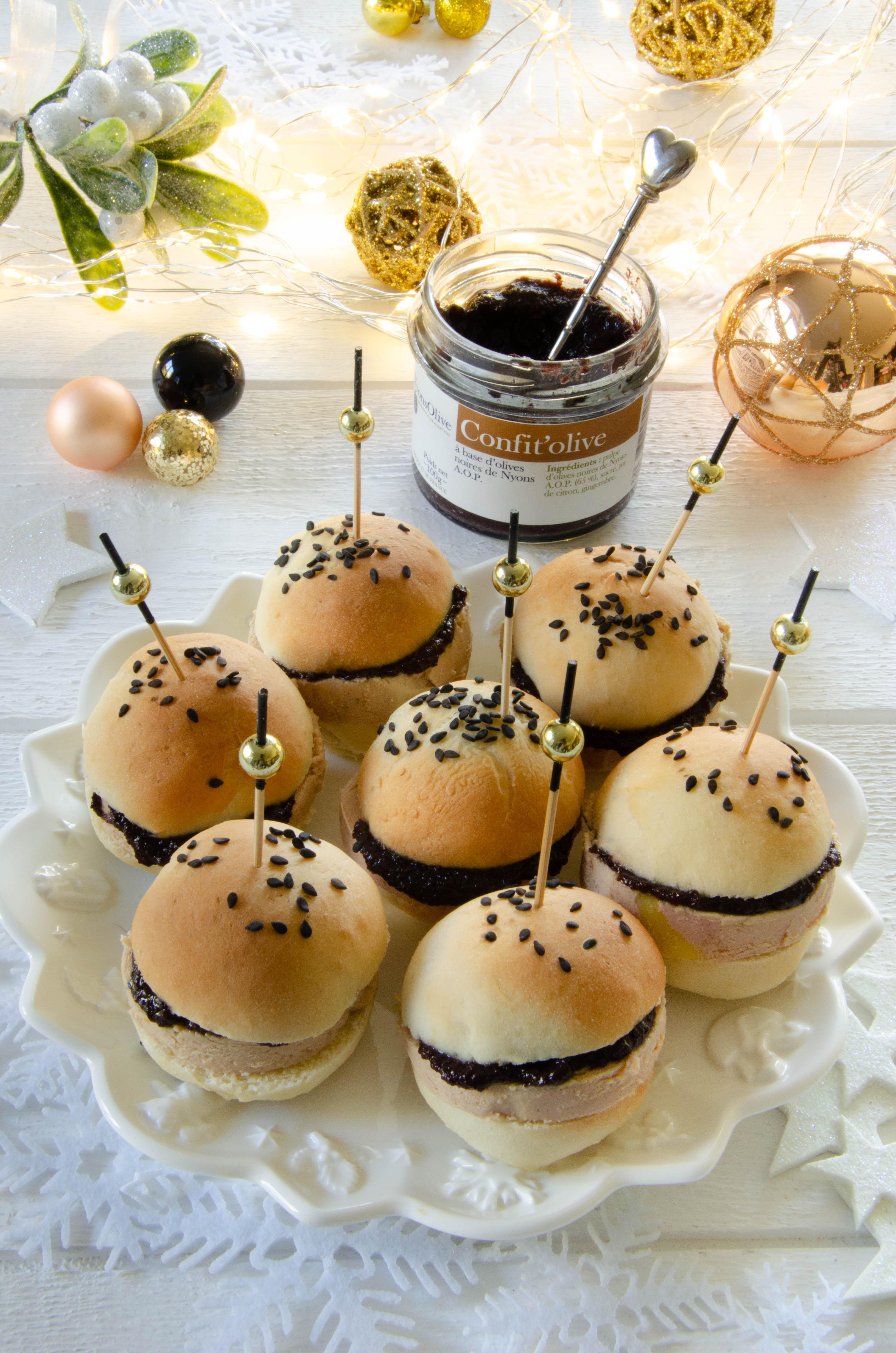 Mini Pains Burgers Foie gras Confit'Olive